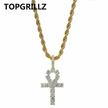 TOPGRILLZ Hip Hop Ankh Cross Pendant Necklace Micro Pave AAAA+ Cubic Zirconia Egyptian Style 24″ 30″ Chain Necklace