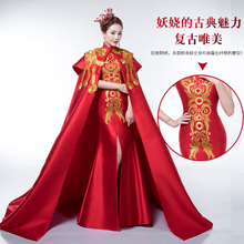 100%real chinese traditional red phonix embroidery mermaid dress with luxury cloak/can cusotms size/many styles to choose