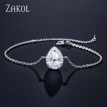 ZAKOL Fashion Water Drop Zircon Chain Link Bracelet for Women Gift Charm Bracelets & Bangles Jewelry Accessories FSBP2082(China)