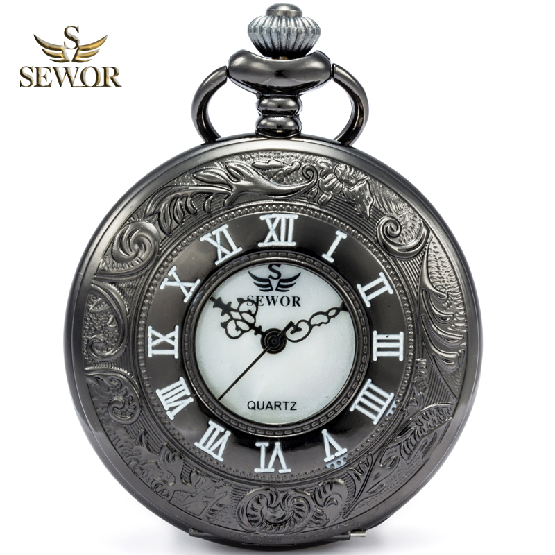 SEWOR Mens Luxury Fashion Dial Reflective Color Quartz Watch Enamel Flower Design Dual Display Pocket Watch White Dial C160