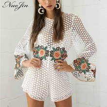 NuoJin White Crochet Lace Embroidery  Womens Jumpsuit Romper Casual Loose Playsuit Short Flare Sleeve Macacao Feminino Overalls