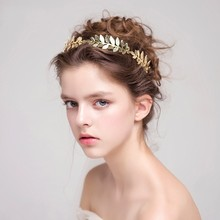 Jonnafe Gold Silver Leaf Tiara Bridal Headband Handmade Vintage Wedding Hair Accessories Women Headwear Jewelry