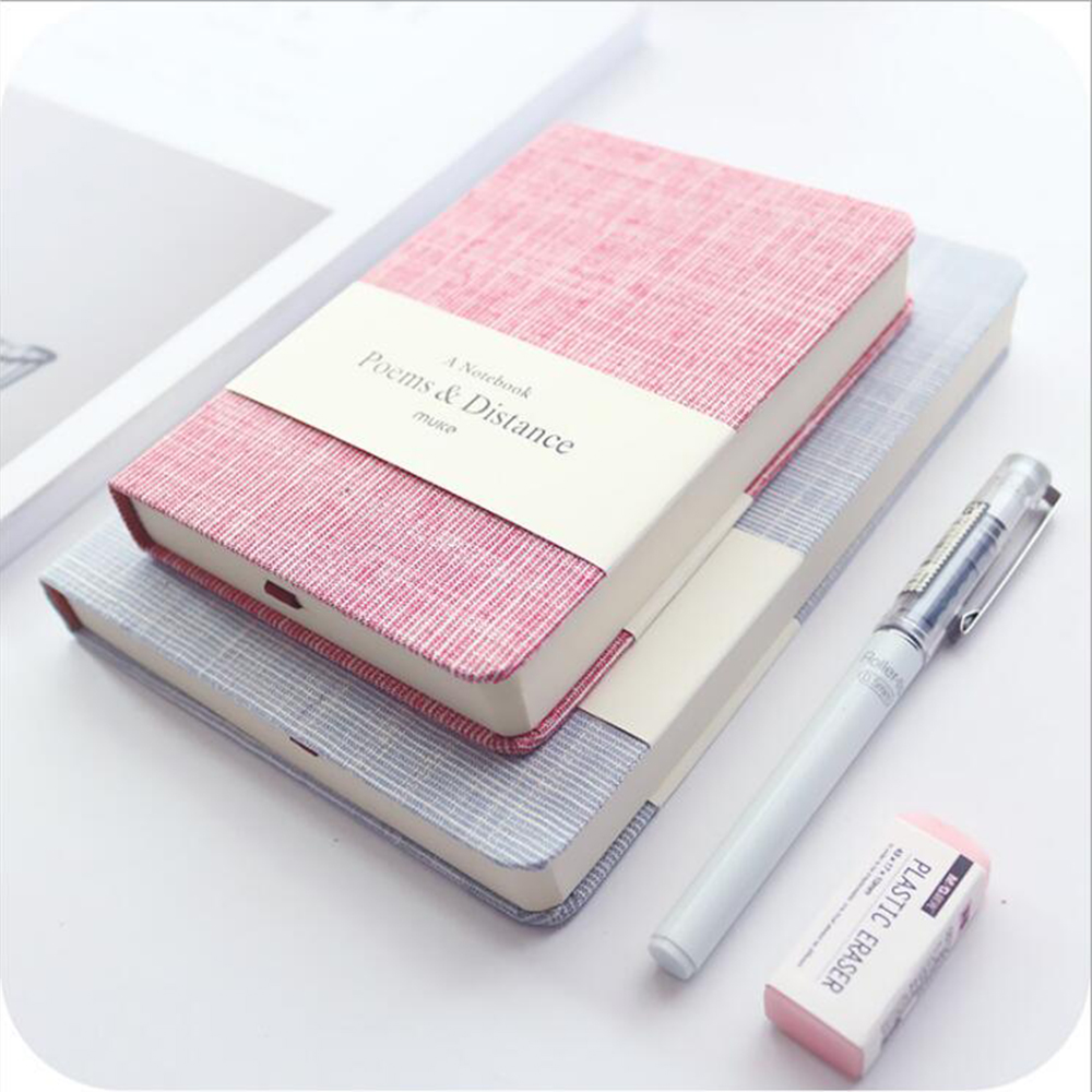 Concise Creative Fabric Hardcover Blank Line Notebook Office School Note Stationery Paper Planner Student Daily Memo Diary Book 140 page note paper creative fruit design