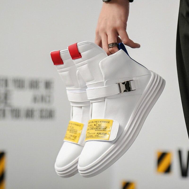 Couro Sapatos Livre Mocassins Casuais Tênis Marca Tendência Hombr Alta Superior Elasticidade Ao De Masculinos Moda Yasilaiya Ar Linha Caminhada Homem Branco YIFqc