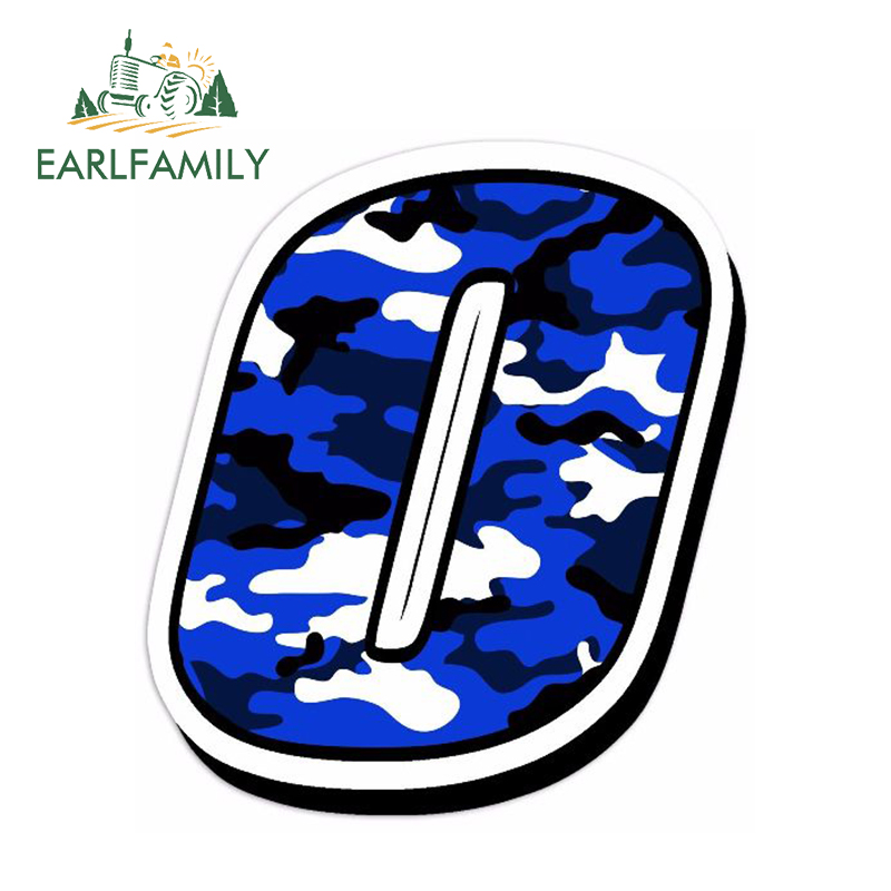 EARLFAMILY 13cm x 10cm Car Styling Racing Numbers Vinyl <font><b>CAMOUFLAGE</b></font> BLUE Decal Motocross Rally Auto Moto Car <font><b>Bike</b></font> ATV Car <font><b>Sticker</b></font> image