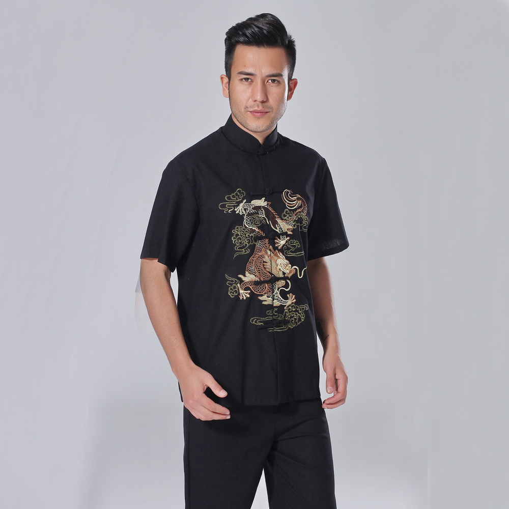 Novelty Black Chinese Men Embroidery Kung Fu Shirt Summer Casual Linen Shirts With Dragon Tai Chi Clothing M L XL XXL XXXL
