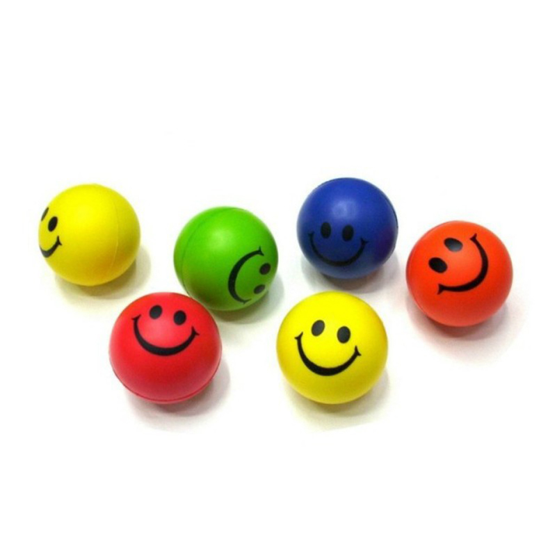 Abbyfrank 6Pcs/Set Stress Ball Squeeze Ball Smile Face Print Soft PU Rubber Bouncy Toy Balls Hand Wrist Exercise Stress Relief