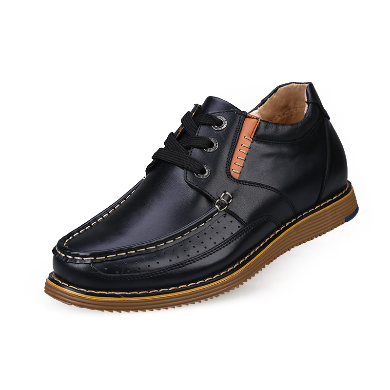 Clearance Casual Genuine Leather Flats Shoes Elevate High 6CM for Fashion Boys Match Jeans Color /brown/black Sz37-43