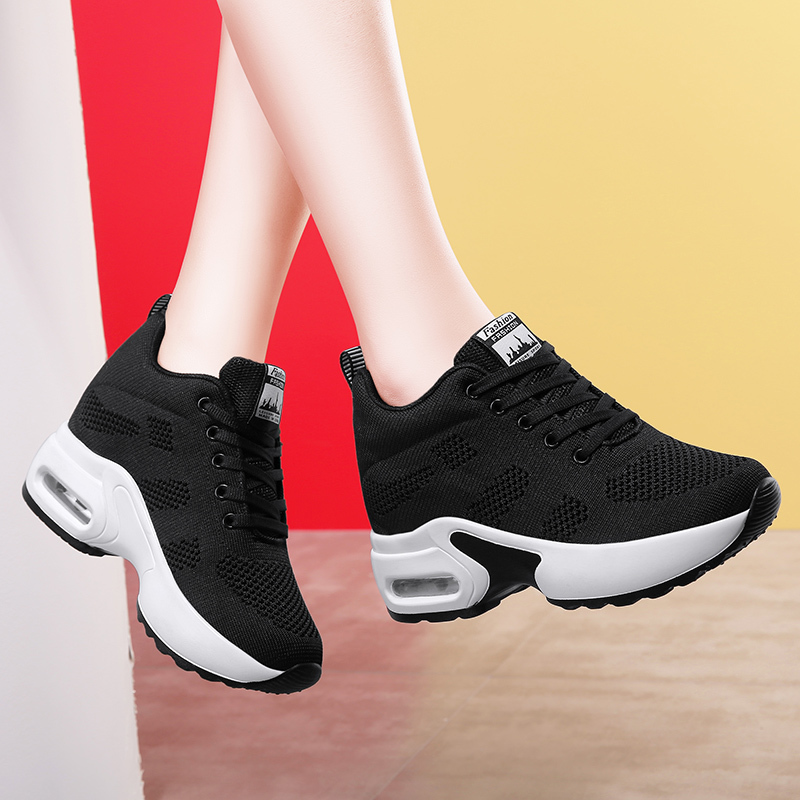 WADNASO Flying Knitting Fashion Sneakers Women Hide Heels Casual Shoes Breathable Platform Sneakers Wedge White Shoes XZ120 (24)