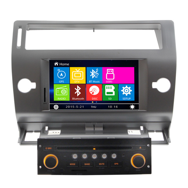 Black Color 2 Din Auto Radio DVD GPS Navigation for Citroen C4 2004 2005 2006 2007 2008 2009 2010 2011 with RDS AM FM USB