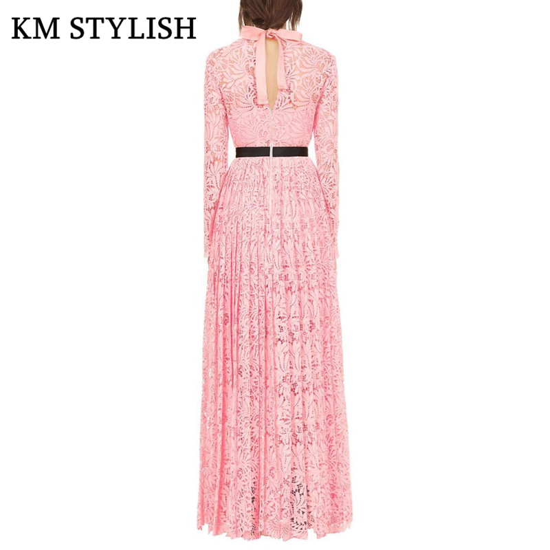 Autumn Women 2018 New Cutout Embroidered Lace Round Neck Halter Pink
