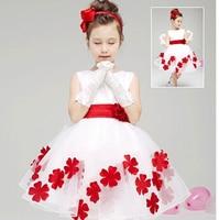 2015 new Children party dress girls white wedding dresses princess costume girl petals splicing lace dress vestidos meninas