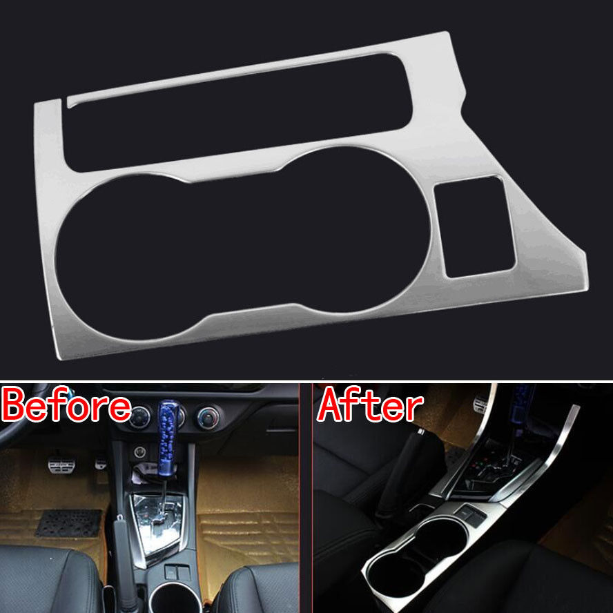 Fit For Toyota Highlander 2015 Chrome Water Cup Holder Panel Decorative Box Trim
