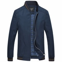 Spring Summer Jackets Men Middle Aged Business Casual Thin Red Stand Collar Plaid Windproof Homme Zipper
