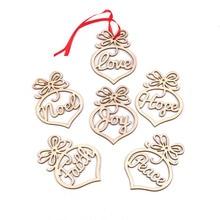12 ADET DIY Noel Kalp şekilli Ahşap Kolye Süsler Hollowing Noel Partisi Süslemeleri Noel Ağacı Süsler Çocuklar Hediyeler