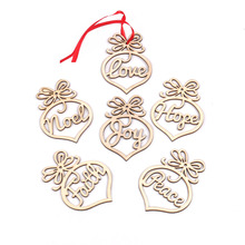 12PCS DIY 크리스마스 심장 모양의 나무 펜 던 트 장식품 Hollowing 크리스마스 파티 장식 크리스마스 트리 장식품 어린이 선물