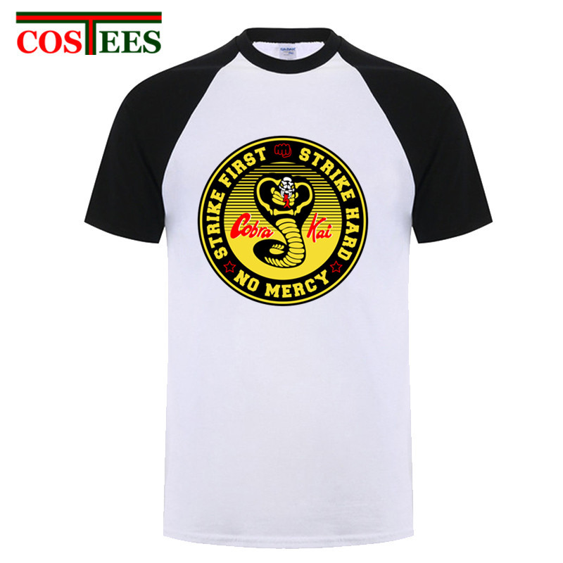 f01210b3d Vestido Vintage verano 2018 Cobra Kai T shirts men Karate T-shirt Cool  black mamba fashion cosplay ...