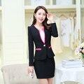 2016 nueva Primavera Falda de Las Mujeres Formales Trajes Blazers Moda de Otoño con Falda de La Venta Caliente Mujeres Conjuntos Señoras de la Oficina de Trabajo Uniforme desgaste