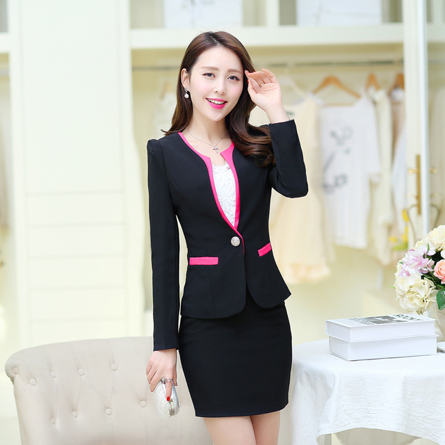 151b0b2544463 New 2016 Spring Formal Women s Skirt Suits Autumn Fashion Blazers with  Skirt Hot Sale Women Sets