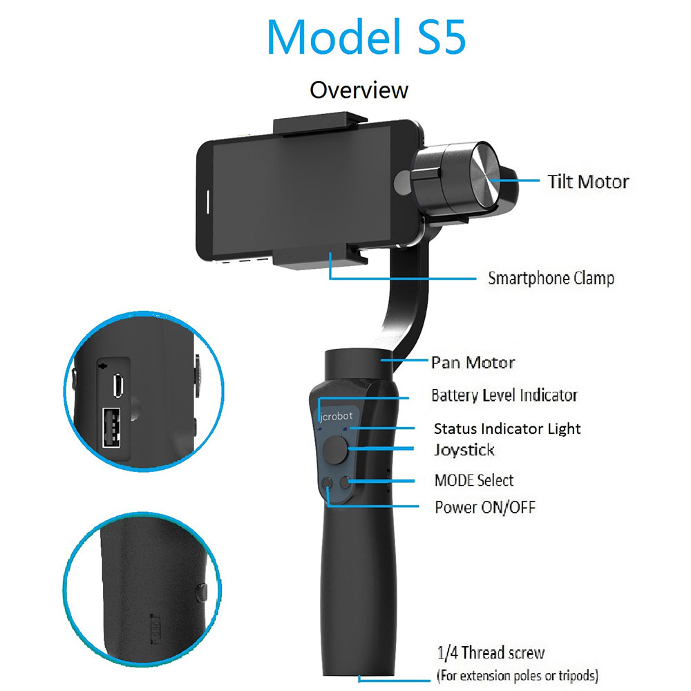 Camera Mount Handheld 3-Axis Gimbal Stabilizer Anti-Shake Smooth Selfie Sticks Phone Stabilizer for iPhone Samsung HUAWEI