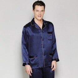 CEARPION Elegante Männer Casual Täglichen Pyjamas 100% Seide Langarm 2 stücke Hemd + hose Nachtwäsche Feste Männliche Nacht Tragen hause Kleidung