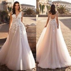 LORIE 2020 Anmutigen V Neck Strand Hochzeit Kleider Backless 3D Floral Applizierte Spitze Brautkleider Tüll vestido de novia Plus größe