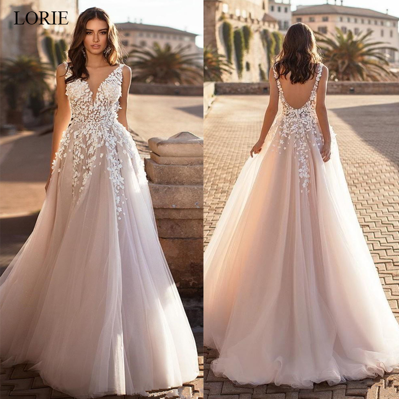 LORIE 2020 Graceful V Neck Beach Wedding Dresses Backless 3D Floral Appliqued Lace Bridal Gowns Tulle Vestido De Novia Plus Size