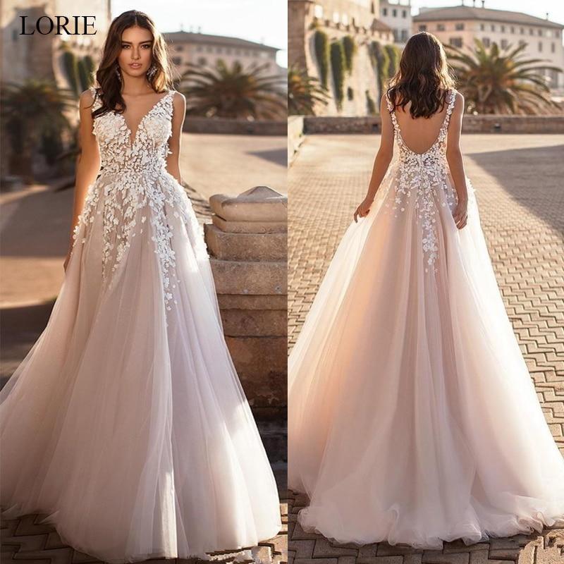 LORIE 2020 Graceful V Neck Beach Wedding Dresses Backless 3D Floral Appliqued Lace Bridal Gowns Tulle Vestido De Novia Plus Size