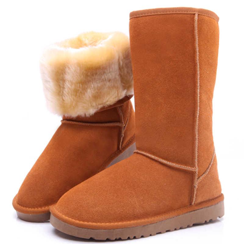 Kadın botları australie kışlık botlar bayan botları deri düğme diz uyluk yüksek kar çizmeler kadın ayakkabıları avustralya kürk uzun artı sz