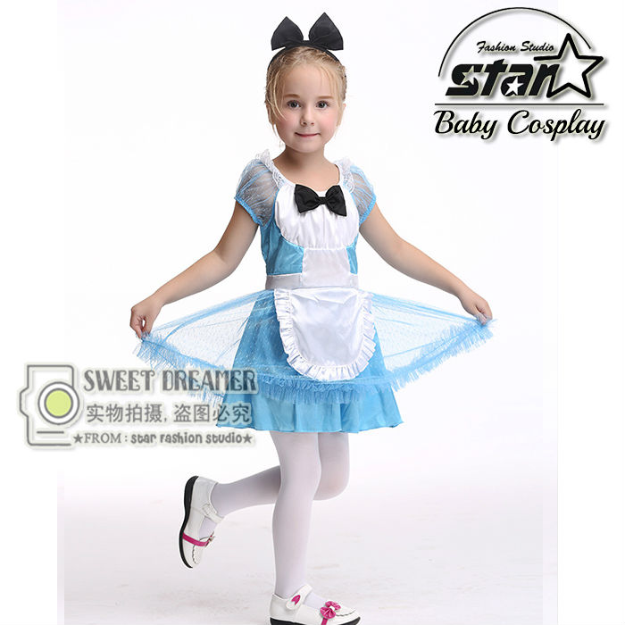 2 PCS Girl Japanese Cosplay Costume Alice Kids Maid Sailor Lolita Dress Striped Blue Girl Costume Children Clothes With Headwear аксессуары для косплея cosplay