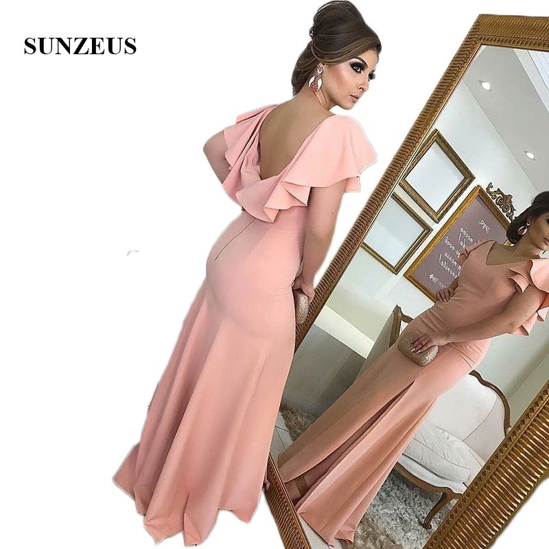Open Back Sexy Maid of Honor Dresses V Neck Sheath Ruffles Sleeve Bridesmaid Dresses 2018 Leg Slit Wedding Party Dresses SBD81