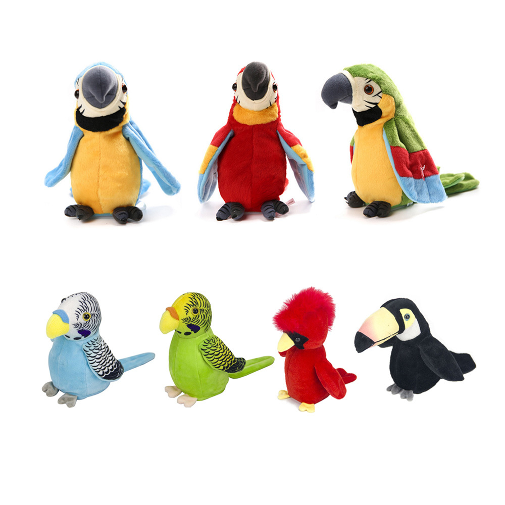 Cute Kids Electronic Pets Talking Parrot Toys Funny Sound Record Repeat Speaking Plush Educational Toy Puzzle Gift For Children