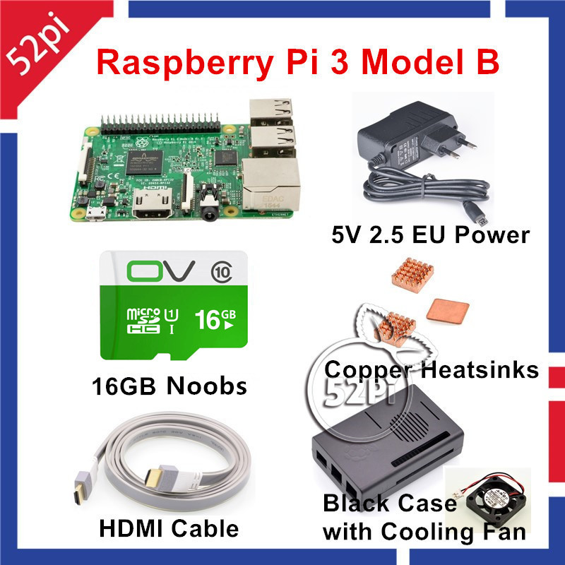 52Pi Raspberry Pi 3 Model B NOOBS Starter Kit with Pi 3 Board+16G SD NOOBS+HDMI+EU/US/UK/AU Power+Heatsinks+Case+Fan raspberry pi 3 model b starter kit pi 3 board pi 3 case eu power plug with logo heatsinks pi3 b pi 3b with wifi bluetooth