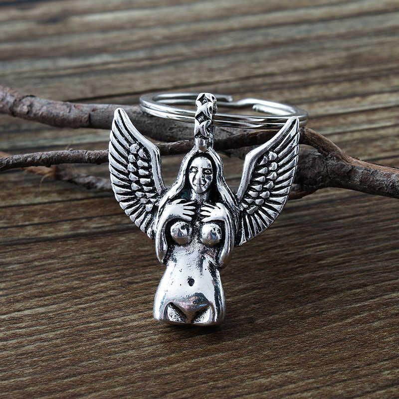 New Body art nudo femminile catena chiave d'argento antico statua della libertà ali di angelo del pendente di chiave.