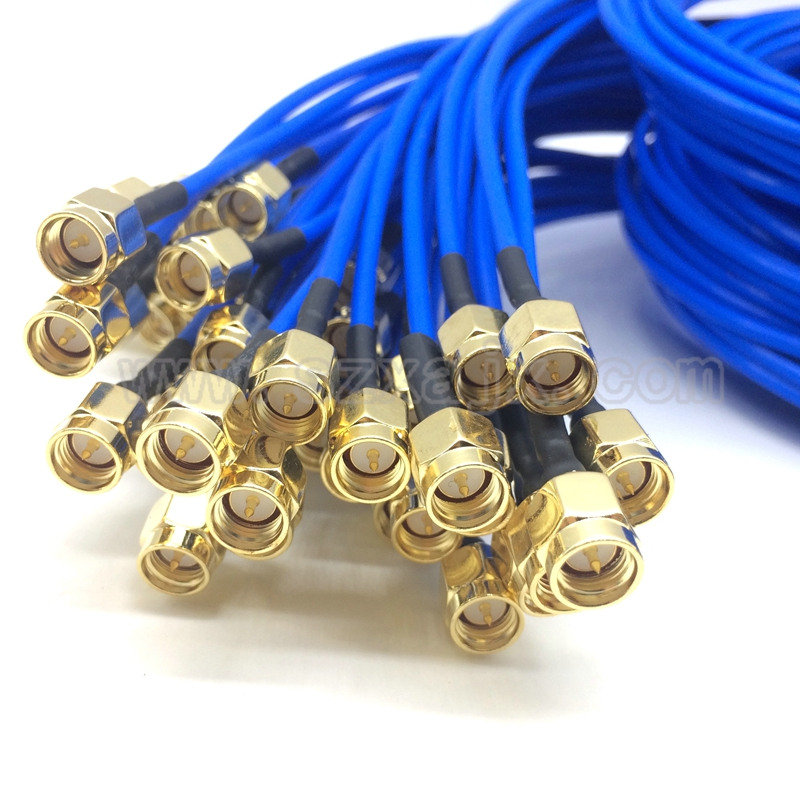 JX connector 1pcs SMA to SMA connector straight RF Coaxial cable SMA male to SMA male RG405 086 cable Blue skin adapter