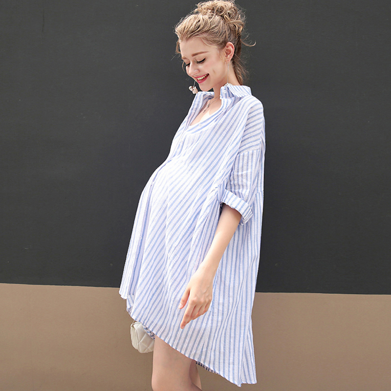 все цены на New Maternity Stripe Loose Dress Button Shirt Skirt Half Sleeve Dresses Pregnant women Clothing Pregnancy Wear Send Vest 2PCS E5