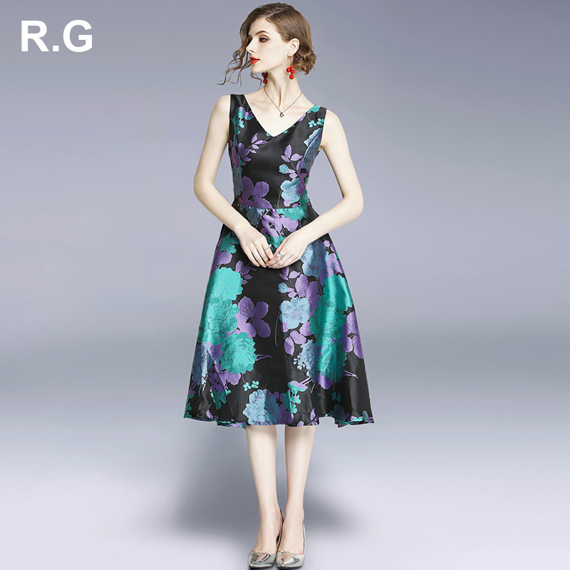89f56cf0d0c Plus Floral Robes Rg Printed Robe D été 2019 V Femmes Bureau Dress Slim Élégante  Col Fit Sans Boule La Manches ...