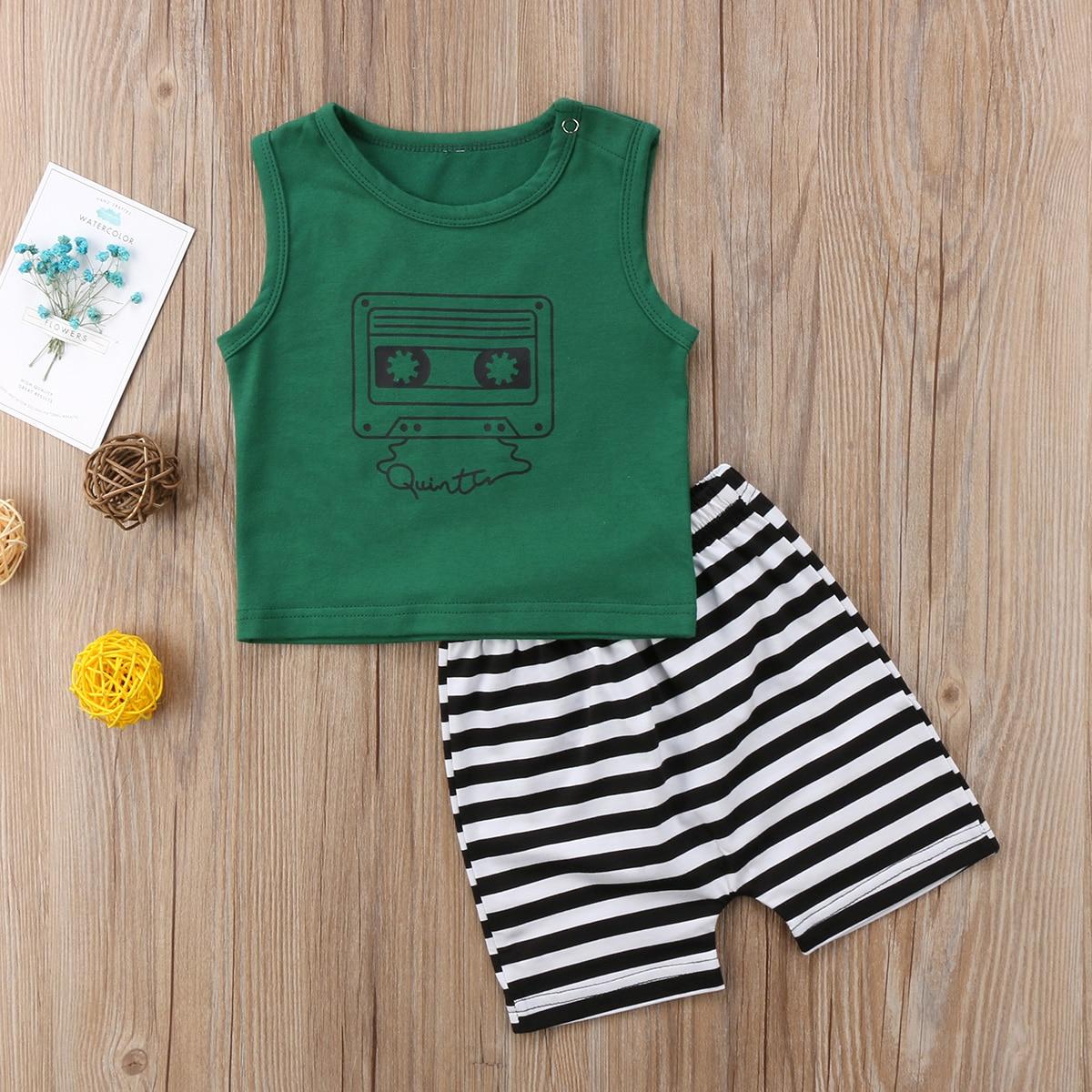 2 Stks Jongetje Zomer Groen T-shirt Tops + Gestreepte Korte Broek Outfit Peuter Kids Zomer Kleding Set Yu