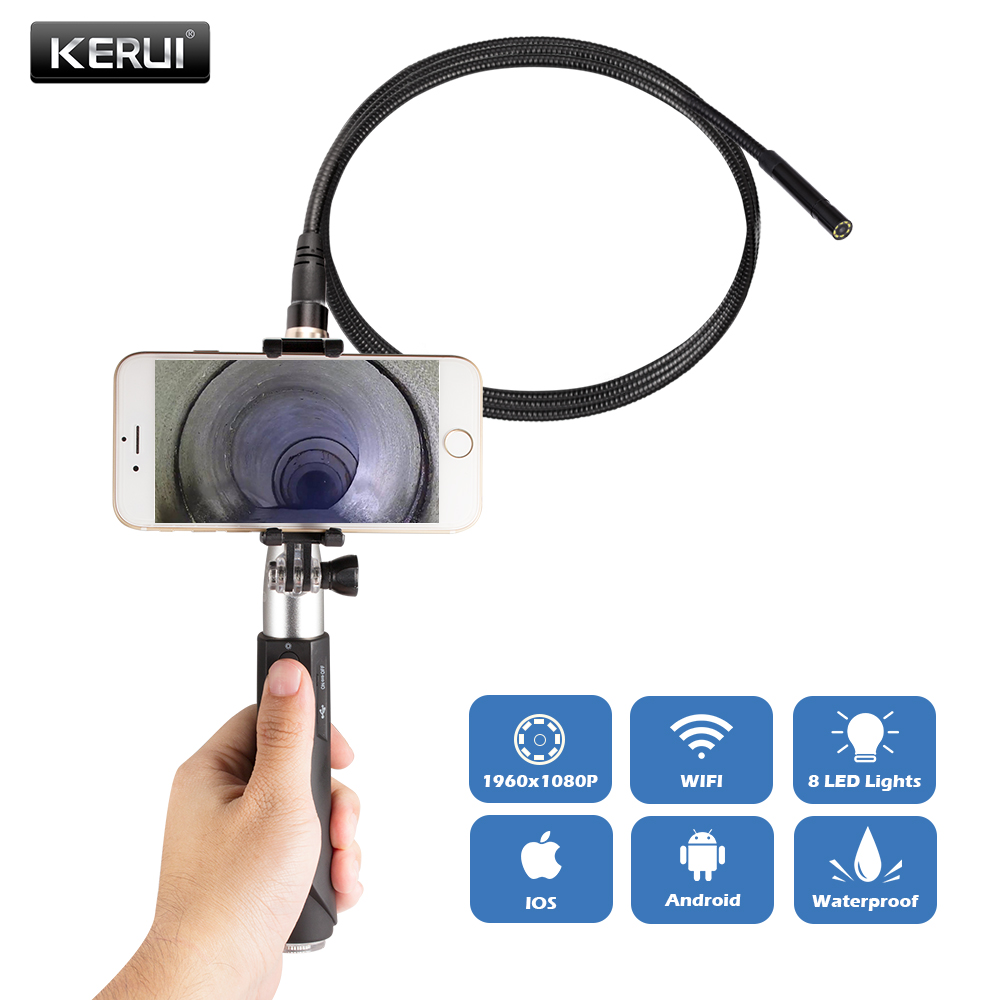 KERUI F110 1M 3M Cable 8mm 1080P Handheld WIFI Endoscope IP67 Waterproof Multipurpose Inspection Camera Android