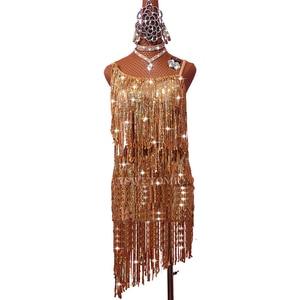 Image 5 - Profession Latin Dance Dress Women Adult Samba Costume Gold Tassel Competition Performance Wear Latin Dresses