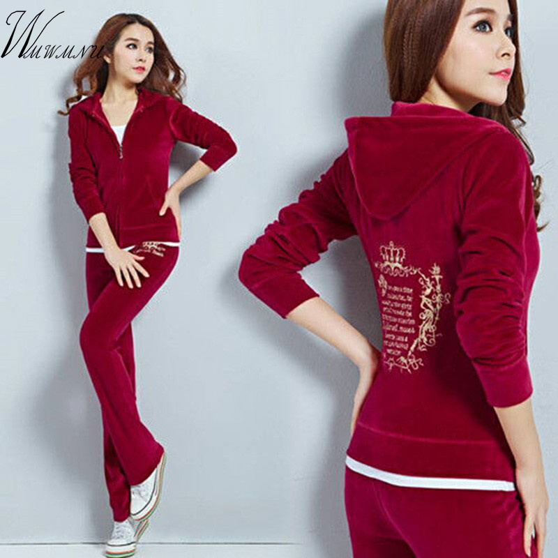 Mom's Plus Size 3XL Autumn 2019 Women Tracksuits 8 Colors Crowne Pattern Embroidery Velvet Suit Female Clothing Moleton Feminino