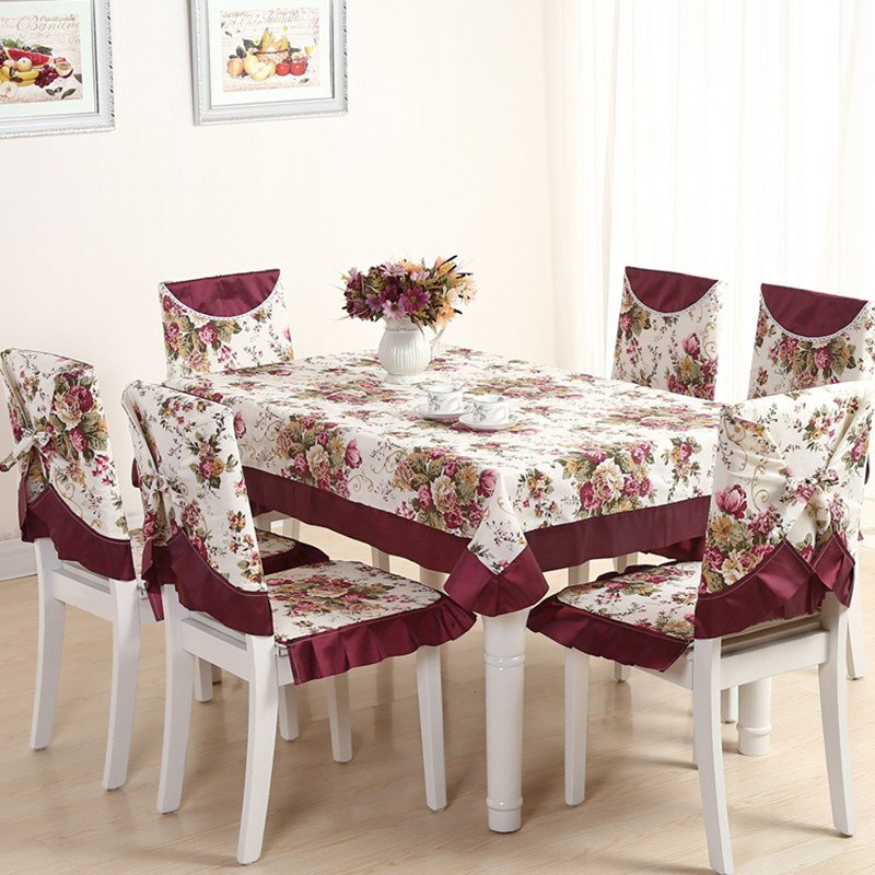 13 Pieces Set Embroidery Table Cloth Vintage Tablecloth For Wedding Hotel Decor Square Linen Dining Chair Cover