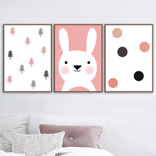 Cartoon Rabbit Dot Tree Nordic Posters And Prints Wall Art Canvas Painting Pop Pictures For Kids Room Bedroom Boy Decor