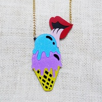 European Fashion Personality Exaggerate Punk Night Club Jewelry Accessories Acrylic Ice Cream Red Lips Pendant Necklace