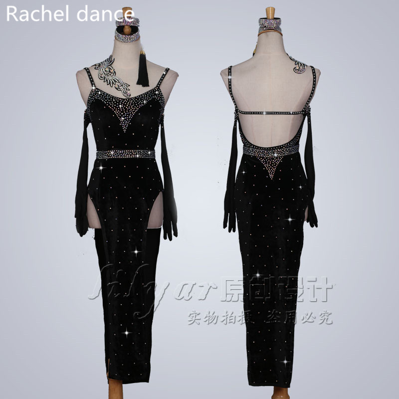 Latin Dance Dress Women Top Harness Back Opening Irregular Salsa Tango Rumba Flamengo Ballroom Latin Dance Competition Costumes