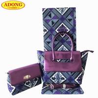Purple color African print fabric Woman's two wax handbag matching 6 yards/pcs Batik fabric African wax bag set For Sewing