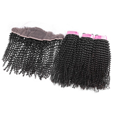 YVONNE Kinky Curly Brazilian Lace Frontal Closure With Bundles,1Pcs Lace Frontal 13.5×4 With 3Pcs Human Hair Bundles