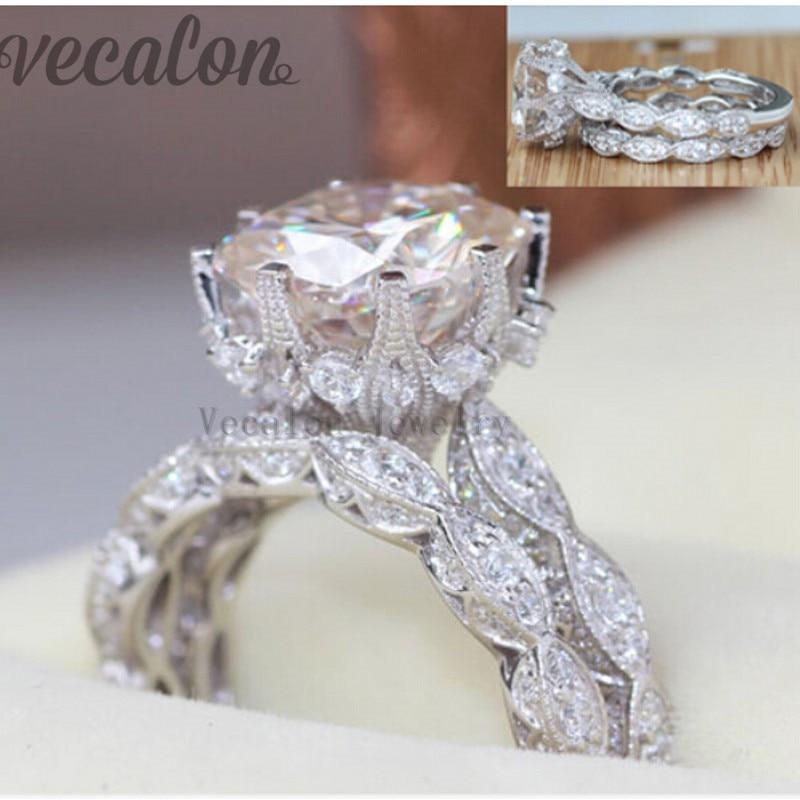 Vecalon 2016 Vintage Engagement Ehering Set für Frauen 3ct AAAAA - Modeschmuck - Foto 2