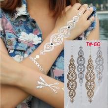 New Fashion 1pcs Indian Style Designs Temporary Metal products Tattoo Flash Tattoo Arabic henna tattoos