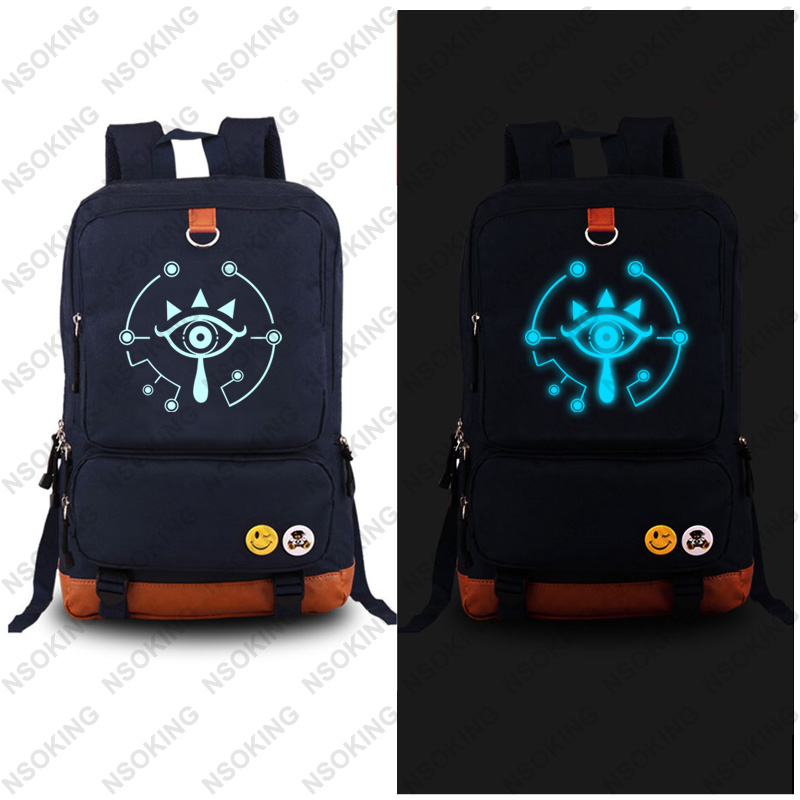 ecoparty New The Legend of Zelda Backpack Breath of the wild Eye Fashion Canvas Student Luminous Schoolbag Unisex Travel Bags novelty legend of zelda breath of the wild bi fold wallet dft 10061